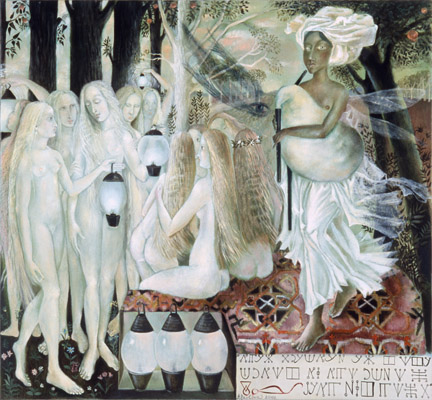 The painting -The virgins and the lamps II- (2001) by Annael (Anelia Pavlova), artist, after the (classical) music of Grieg