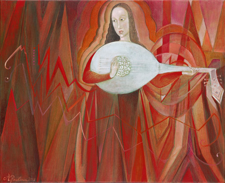The painting -Weinberg Sonatas for solo cello- (2001) by Annael (Anelia Pavlova), artist, after the (classical) music of Weinberg