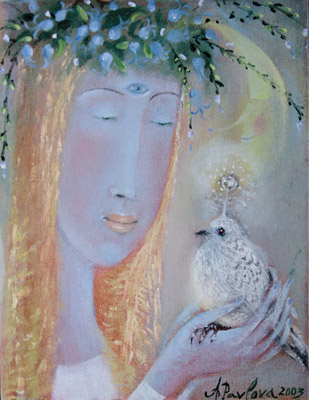The painting -Bird of love- (2003) by Annael (Anelia Pavlova), artist