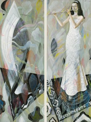 The painting -Primavera (diptych)- (2004) by Annael (Anelia Pavlova), artist, after the (classical) music of Damase