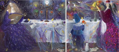 The painting -Evening Morning (diptych)- (2007) by Annael (Anelia Pavlova), artist, after the (classical) music of Shostakovich