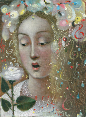 The painting -White flower- (2010) by Annael (Anelia Pavlova), artist, after the (classical) music of Handel