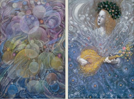 The painting -The Minstrel's song (diptych)- (2017) by Annael (Anelia Pavlova), artist, after the (classical) music of Martinu