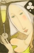 Wine label: Queen of Clubs (Peter Lehmann Semillon) by Annael (Anelia Pavlova), Australian artist